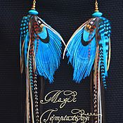 Украшения handmade. Livemaster - original item Turquoise earrings made of peacock feathers.. Handmade.