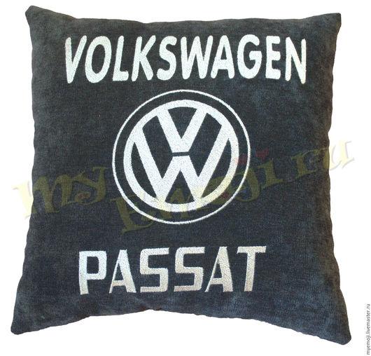 Автомобильные ручной работы. Ярмарка Мастеров - ручная работа. Купить Автомобильная подушка Volkswagen. Автоподушка Фольксваген. Handmade. Черный, эксклюзив