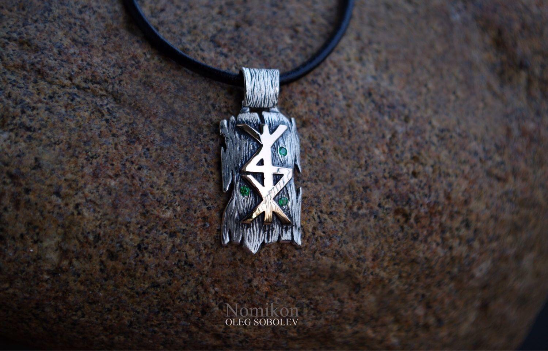 Rune stav gold 'tree bark' - silver with black, Amulet, St. Petersburg,  Фото №1