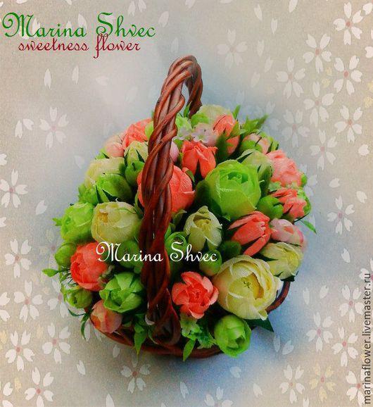 """Букеты ручной работы. Ярмарка Мастеров - ручная работа. Купить Корзина роз из конфет """"Дыхание весны"""". Handmade. Букет из конфет"""