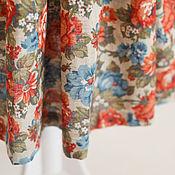 Одежда ручной работы. Ярмарка Мастеров - ручная работа Летняя льняная юбка-татьянка со сборкой в цветы. Handmade.