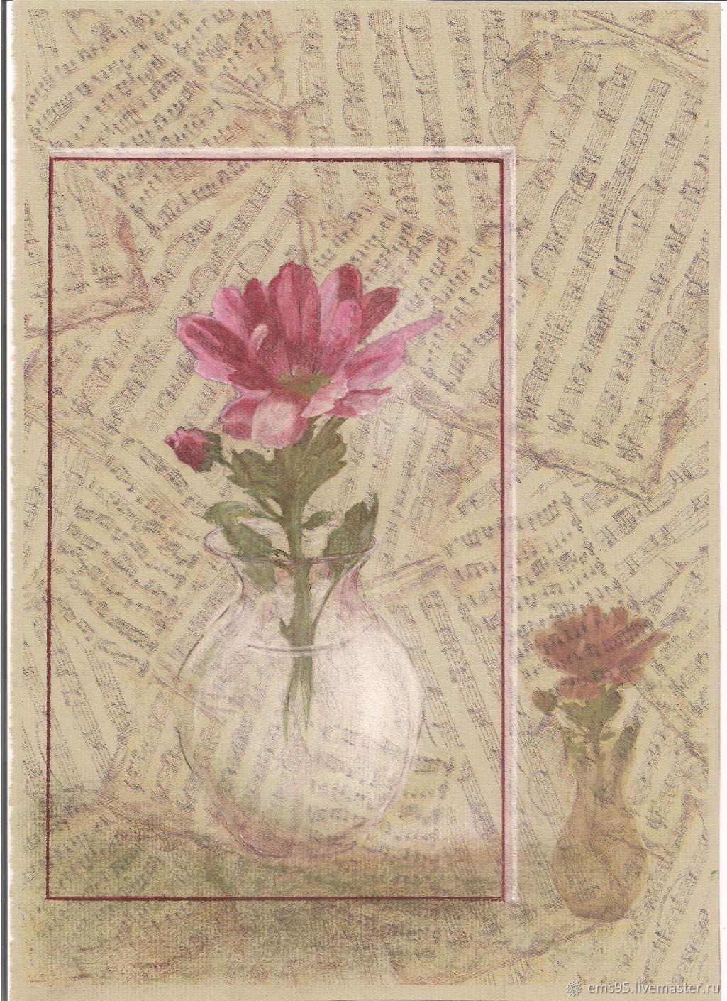 Романс. Картина пастелью на принте. Картина цветы, Картины, Краснодар,  Фото №1