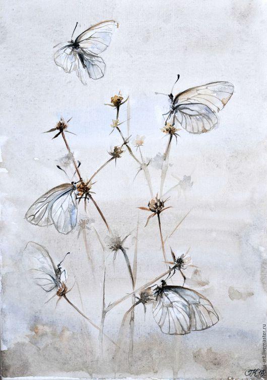 """Картины цветов ручной работы. Ярмарка Мастеров - ручная работа. Купить Картина акварелью """"Невесомые бабочки и сухоцветы"""". Handmade. Белый"""
