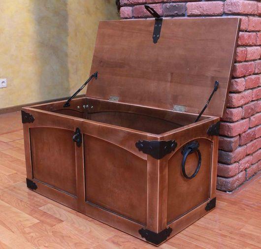 Шкатулки ручной работы. Ярмарка Мастеров - ручная работа. Купить Сундук деревянный большой. Handmade. Коричневый, Ковка, деревянный, Мебель, ковка