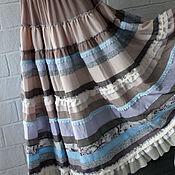 Одежда ручной работы. Ярмарка Мастеров - ручная работа Бриз-светлая кремово-голубая длинная юбка в стиле бохо.. Handmade.