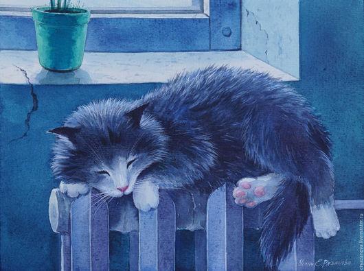 Животные ручной работы. Ярмарка Мастеров - ручная работа. Купить Картина акварелью Кошка на батарее. Handmade. Акварельная картина