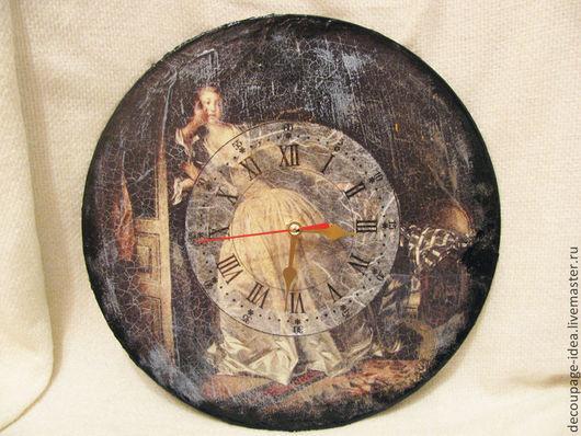 """Часы для дома ручной работы. Ярмарка Мастеров - ручная работа. Купить Часы """"Поцелуй украдкой"""". Handmade. Часы, яркие цвета"""