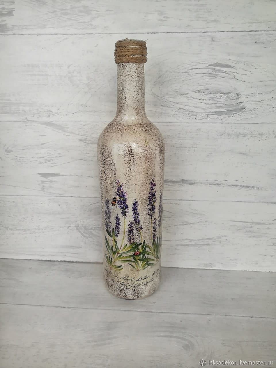 Glass bottles with lavender, decorated in Provence style, Vases, Moscow,  Фото №1