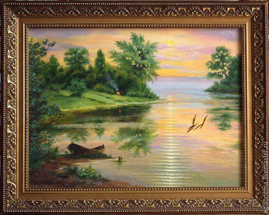 Пейзаж ручной работы. Ярмарка Мастеров - ручная работа. Купить Вечер. Handmade. Зеленый, лес, лето, река, вечер, лодка