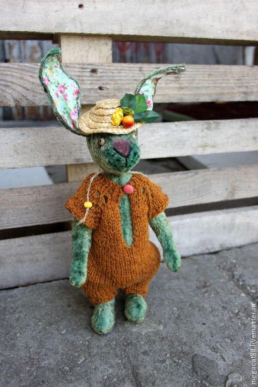Мишки Тедди ручной работы. Ярмарка Мастеров - ручная работа. Купить Заяц тедди Утро в деревне. Handmade. Зеленый