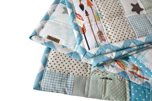 Пледы и одеяла ручной работы. Ярмарка Мастеров - ручная работа. Купить Лоскутное одеяло для маленьких индейцев. Handmade. Бирюзовый, пэчворк