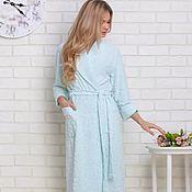 Одежда ручной работы. Ярмарка Мастеров - ручная работа Облегченный женский махровый халат, бамбук, цвет нежно бирюзовый. Handmade.
