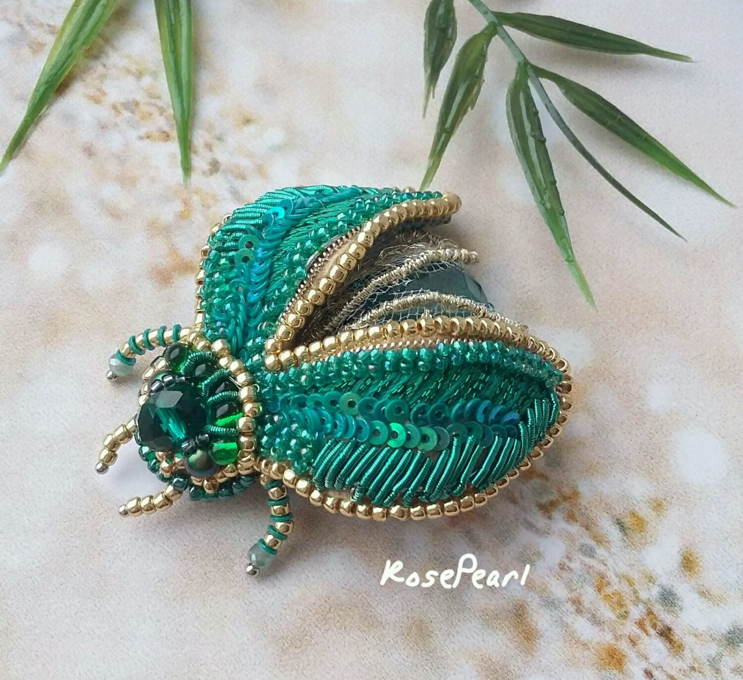 Malachite spring beetle, Brooches, St. Petersburg,  Фото №1