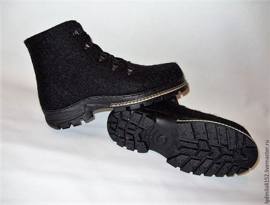 """Обувь ручной работы. Ярмарка Мастеров - ручная работа. Купить Валяные зимние ботинки """"Город"""". Handmade. Темно-серый, кардочёс"""
