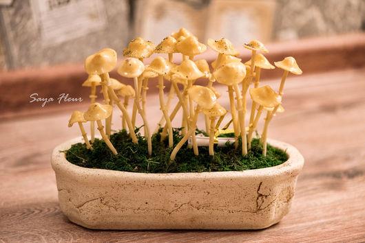 Искусственные растения ручной работы. Ярмарка Мастеров - ручная работа. Купить грибы холодный фарфор. Handmade. Оранжевый, полимерная глина