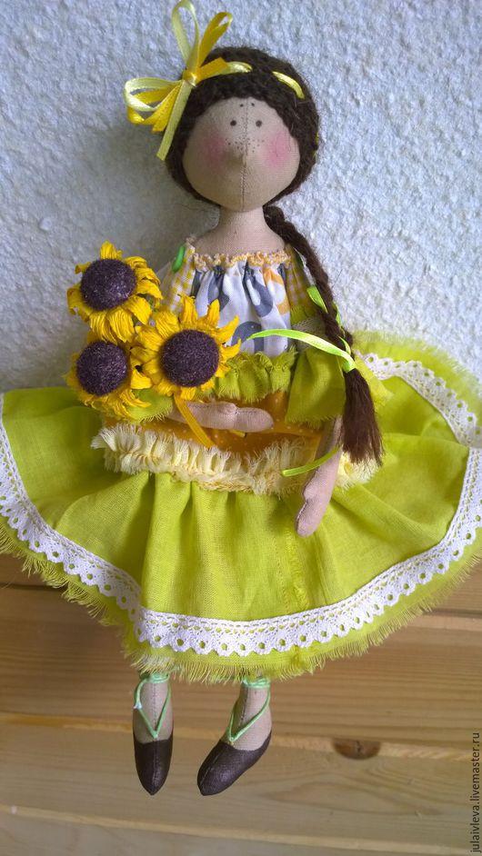 Куклы тыквоголовки ручной работы. Ярмарка Мастеров - ручная работа. Купить солнечная Люся. Handmade. Желтый, подсолнухи, люся
