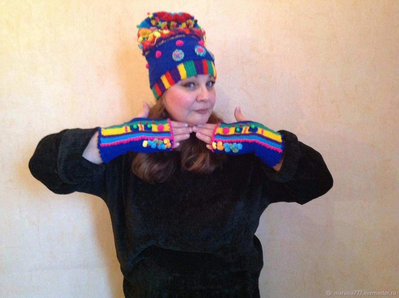 Вязанная шапка*Fantasy-2* и митенки, Шапки, Москва,  Фото №1
