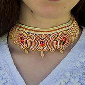 Украшения handmade. Livemaster - original item Soutache necklace Passion with Swarovski red beige. Handmade.