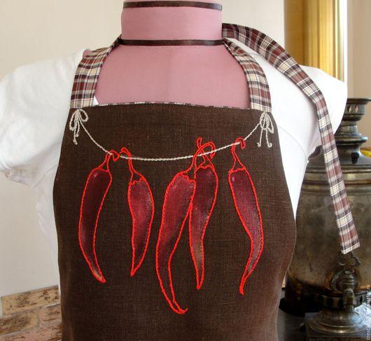 Кухня ручной работы. Ярмарка Мастеров - ручная работа. Купить Фартук для кухни Красный огненный перчик. Handmade.