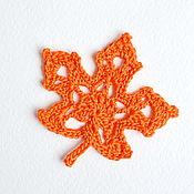 Для дома и интерьера handmade. Livemaster - original item Maple leaves, knitted, home decor, scrap, crochet applications. Handmade.