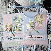 """Приглашения ручной работы. Ярмарка Мастеров - ручная работа Свадебные приглашения. """"Розовый прованс"""". Handmade."""
