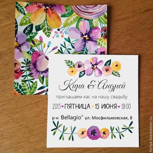 """Свадебные аксессуары ручной работы. Ярмарка Мастеров - ручная работа. Купить Приглашение на свадьбу """"tropical flowers"""". Handmade. Разноцветный, приглашение"""