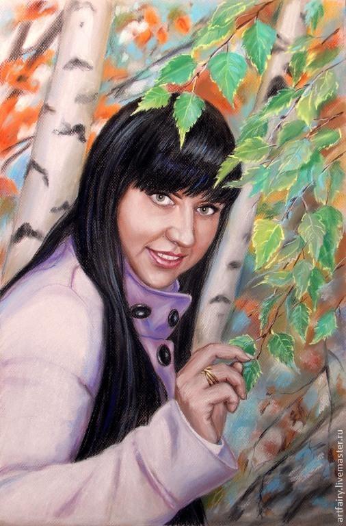 Портрет пастелью `Девушка в  берёзовой роще` 40х60 см Пастель, бумага Ручная работа Портрет на заказ Портрет по фотографии Красивый портрет