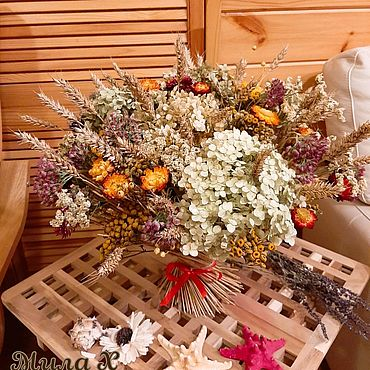 Цветы и флористика. Ярмарка Мастеров - ручная работа Букет из сухоцветов- интерьерная композиция. Handmade.