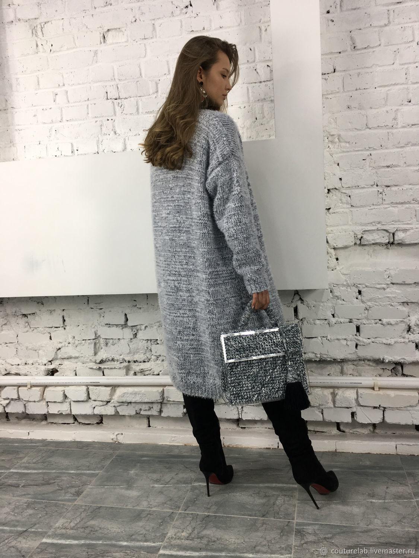 На фотографии вязаный кардиган из ангоры от SHAPAR, бренда женской одежды ручной работы в интернет магазине на ярмарке мастеров связанных спицами вещей. Купить, меланжевый, заказать.