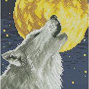 Материалы для творчества ручной работы. Ярмарка Мастеров - ручная работа Волк и луна. Рисунок на ткани для вышивки бисером.. Handmade.