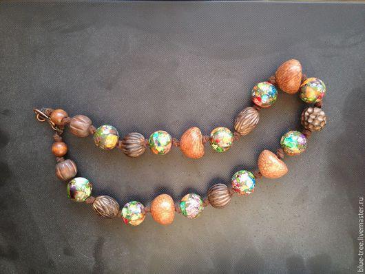 """Колье, бусы ручной работы. Ярмарка Мастеров - ручная работа. Купить Бусы """"Необычная сочетаемость"""" из водного гиацинта, глины, яшмы. Handmade."""