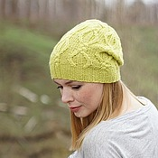 Аксессуары ручной работы. Ярмарка Мастеров - ручная работа Вязаная шапка с косами Bright Lime. Handmade.