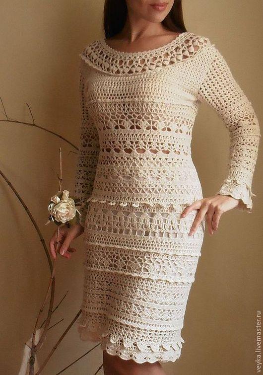 """Платья ручной работы. Ярмарка Мастеров - ручная работа. Купить Платье  """"Рандеву"""". Handmade. Бежевый, Вязание крючком, хлопок, кашемир"""