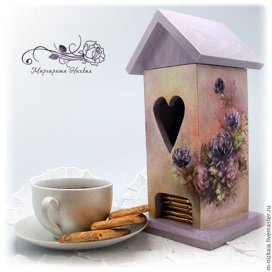 Чайный домик `Пионы`, объемный декупаж.Мастер - Маргарита Низкая. Ручная работа.