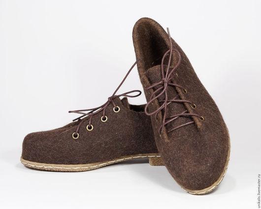 """Обувь ручной работы. Ярмарка Мастеров - ручная работа. Купить Валяные туфли для улицы и помещений """"Брауни. Горький шоколад"""". Handmade."""
