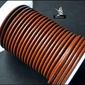 Материалы для творчества ручной работы. Ярмарка Мастеров - ручная работа Натуральный кожаный коричневый шнур 3 мм.. Handmade.