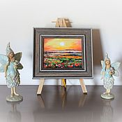 Картины и панно handmade. Livemaster - original item Landscape Poppies Miniature Painting in frame oil author`s painting. Handmade.