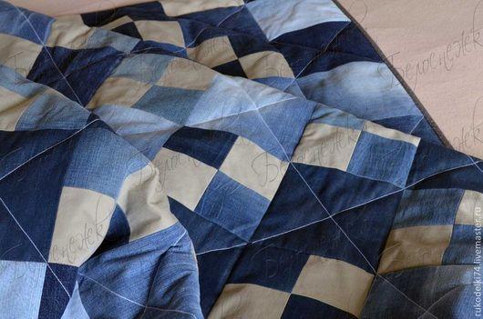 Текстиль, ковры ручной работы. Ярмарка Мастеров - ручная работа. Купить Джинсовый плед. Handmade. Синий, джинса, уют в доме