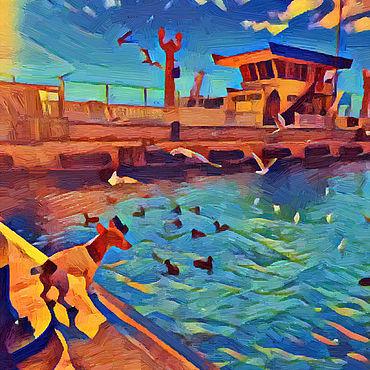 Картины и панно ручной работы. Ярмарка Мастеров - ручная работа На набережной. Handmade.