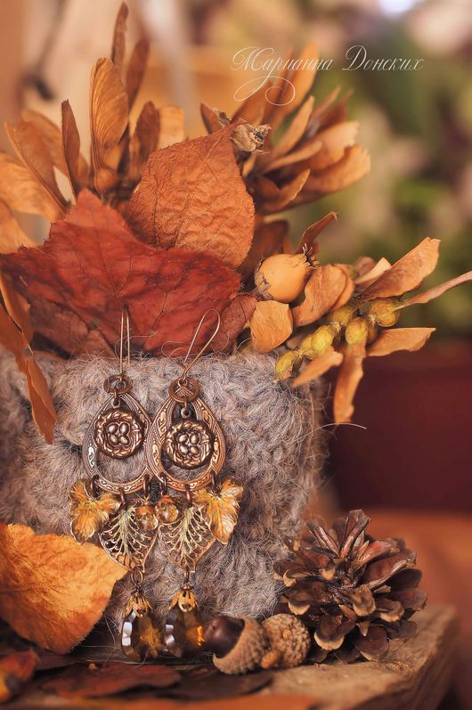 """Серьги ручной работы. Ярмарка Мастеров - ручная работа. Купить Серьги """"Золотая осень"""" c  золотистым топазом. Handmade. Коричневый"""