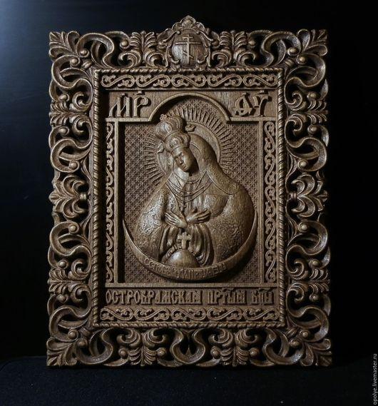 Иконы ручной работы. Ярмарка Мастеров - ручная работа. Купить Резная Икона из дерева - Божья Матерь Остробрамская. Handmade. Икона