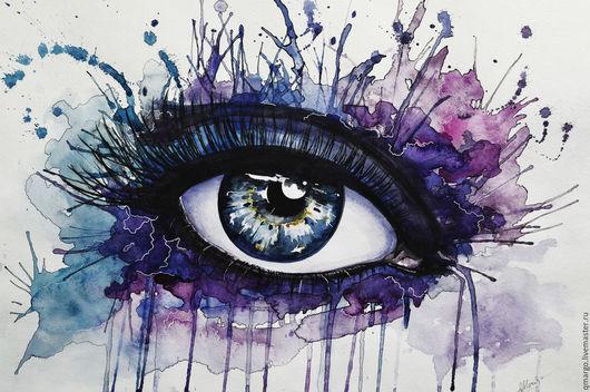 """Фэнтези ручной работы. Ярмарка Мастеров - ручная работа. Купить Акварель """"Око"""". Handmade. Фиолетовый, яркий, Ресницы, фантазия, девушка"""