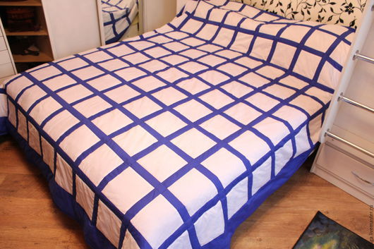 Текстиль, ковры ручной работы. Ярмарка Мастеров - ручная работа. Купить Лоскутное покрывало Льдинка №449. Handmade. Тёмно-синий