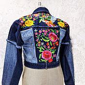 Одежда handmade. Livemaster - original item Denim short jacket Denim with embroidery Blouson in boho style. Handmade.