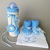 Работы для детей, ручной работы. Ярмарка Мастеров - ручная работа Подарочный набор для новорожденного мальчика в бело-голубых тонах. Handmade.