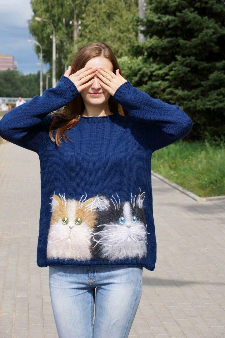 Кофты и свитера ручной работы. Ярмарка Мастеров - ручная работа. Купить Свитер вязаный Cat (8). Handmade. Сухое валяние