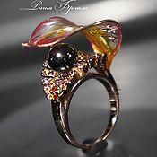 """Украшения ручной работы. Ярмарка Мастеров - ручная работа Крупное цветочное кольцо """"Дикая ягода"""", витражное, коктейльное. Handmade."""