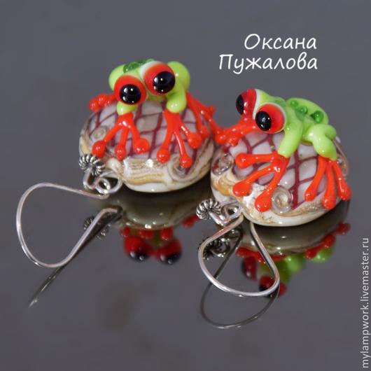 Серьги `Красноглазые лягушки` ( из муранского стекла, серебро)