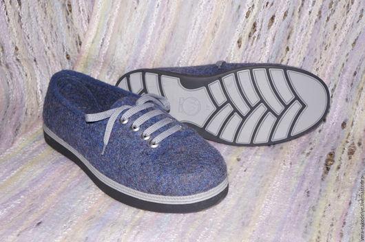 """Обувь ручной работы. Ярмарка Мастеров - ручная работа. Купить Полукеды мужские валяные """"Тихий вечер"""". Handmade. Валяная обувь"""