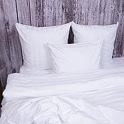 Для дома и интерьера handmade. Livemaster - original item Bed linen stripe satin, champagne, white. Handmade.